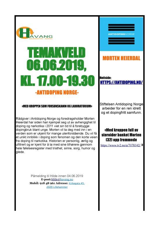 Temakveld Antidoping Norge 06.06.2019