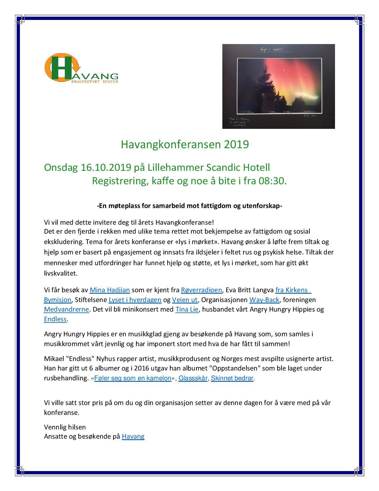 Havangkonferansen 2019 invitasjon