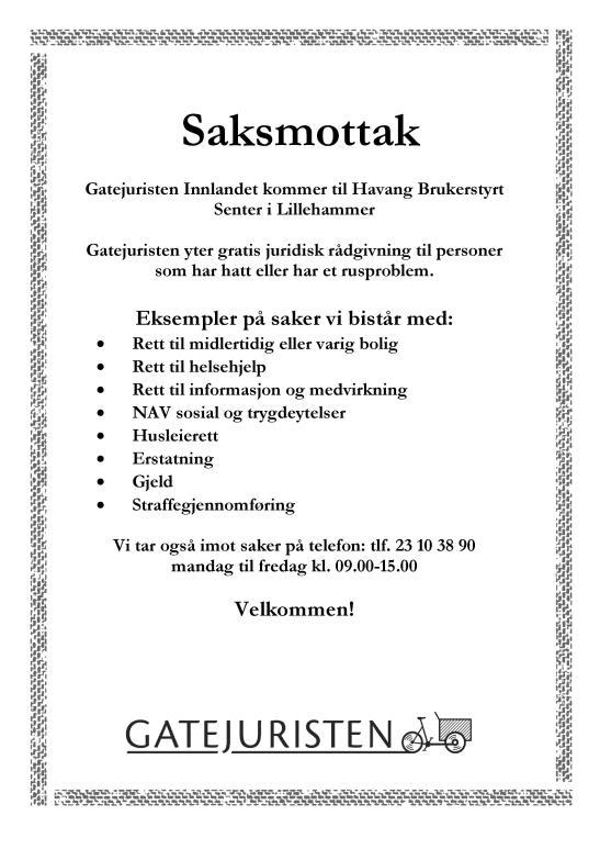 Plakat om saksmottak på Havang_h19